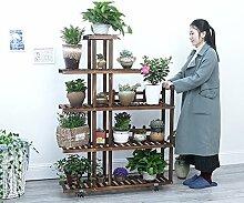 Wooden Multilayer Floor Töpfe Regal Holz Bonsai Terrasse Balkon Wohnzimmer Indoor Green Flower Flower Stand ( Farbe : Charcoal , stil : B )