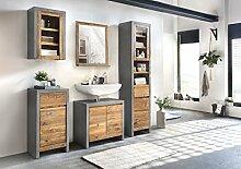Woodkings® Bad Set Burnham Echtholz Pinie natur rustikal und MDF in Beton optik grau Badmöbel Set modern Loft Badezimmerset Badschrank Set industrial