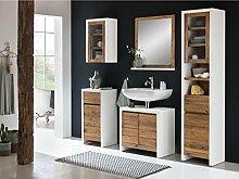 Woodkings Bad Set Burnham Pinie weiß natur rustikal Badmöbel Badschrank Badezimmer Komplettset Landhaus Holz