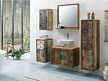 Woodkings Bad Set Kalkutta 5teilig hängend recyceltes Holz rustikal mehrfarbig Badmöbel Badschrank Badezimmer Komplettset Echtholz