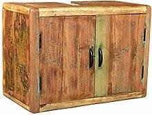 Woodkings® Bad Waschbeckenunterschrank Kalkutta recyceltes Holz bunt rustikal Hängebad Waschtischunterschrank hängend Badmöbel Badezimmer Badschrank Bad Unterschrank Massivholz