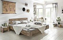 Woodkings Bett 180x200 Hampden Doppelbett Akazie rustic Schlafzimmer Massivholz Design Doppelbett Schwebebett massive Naturmöbel Echtholzmöbel günstig