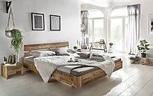 Woodkings Bett 180x200 Hampden Doppelbett recycelte Pinie Schlafzimmer Massivholz Design Doppelbett Schwebebett massive Naturmöbel Echtholzmöbel günstig