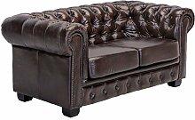 Woodkings® Chesterfield Sofa 2-Sitzer Echtleder