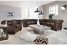 Woodkings® Chesterfield Sofa Set 1+2+3 Vintage