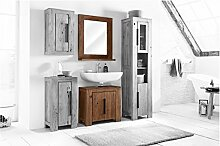 Woodkings® kleines Bad Set Auckland Echtholz Akazie massiv Badmöbel Set Badezimmerset Badschrank Set Bad Design Massivholz