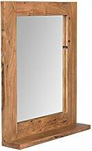 Woodkings® Spiegel 68x78 cm Auckland Echtholz Akazie massiv Badspiegel Wandspiegel mit Ablage Badmöbel Badezimmermöbel Massivholz
