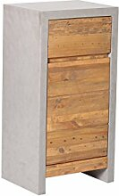 Woodkings® Unterschrank Burnham Echtholz Pinie natur rustikal und MDF in Betonoptik grau Unterschrank Beton optik Möbel Badmöbel Badezimmer Badezimmerschrank Badschrank Bad Unterschrank Massivholztüren