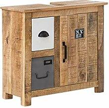 Woodkings® Waschbeckenunterschrank Pune Echtholz