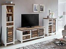 Woodkings® Wohnwand Perth 3teilig weiß bunt