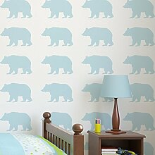 Woodland Bär Silhouette Kinderzimmer Schablone