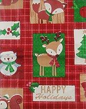 Woodland Creatures Happy Holidays Patchwork Vinyl