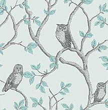 Woodland Tapete mit Eulen-Design, Blaugrün