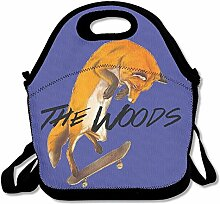 Woods Cool Fox Play Skateboard Lunch Bag Tote
