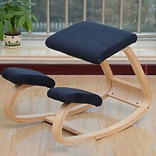 Woody Korrektur Sitzhaltung Stuhl / Computerstuhl Kniesessel / Spinal Stuhl Kniend Stuhl Lernen ( Farbe : Dunkelblau )