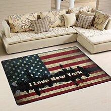 Woor I Love New York American Flagge Wohnzimmer Essbereich Teppiche 91,4x 61cm Bed Room Teppiche Büro Teppiche Moderner Boden Teppich Teppiche Home Decor, Polyester, multi, 6 x 4 Fee