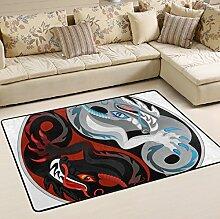 Woor Super komfortabel rutschfeste Yin Yang schwarz und weiß Dragon Bereich Teppiche/Boden Matte/Bezug Teppiche mit kleine Menge Speicher Schaumstoff für Wohnzimmer/Schlafzimmer/Esszimmer/Kinder/Home Dekorieren 3x 2Füße, multi, 6 x 4 Fee