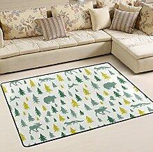 Woor Super rutschhemmender Elk Fuchs Hase Bär Eule Bereich Teppiche/Boden Matte/Bezug Teppiche mit kleine Menge Speicher Schaumstoff für Wohnzimmer/Schlafzimmer/Esszimmer/Kinder/Home Dekorieren 3x 2Füße, multi, 6 x 4 Fee