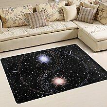 Woor Super rutschhemmender Star Yin Yang Bereich Teppiche/Boden Matte/Bezug Teppiche mit kleine Menge Speicher Schaumstoff für Wohnzimmer/Schlafzimmer/Esszimmer/Kinder/Home Dekorieren 3x 2Füße, multi, 6 x 4 Fee