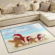 Woor Super rutschhemmender Strand und Santa Weihnachten Teppiche/Boden Matte/Bezug Teppiche mit kleine Menge Speicher Schaumstoff für Wohnzimmer/Schlafzimmer/Esszimmer/Kinder/Home Dekorieren 3x 2Füße, multi, 6 x 4 Fee
