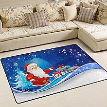 Woor Super rutschhemmender Weihnachten Schneemann Bereich Teppiche/Boden Matte/Bezug Teppiche mit kleine Menge Speicher Schaumstoff für Wohnzimmer/Schlafzimmer/Esszimmer/Kinder/Home Dekorieren 3x 2Füße, multi, 3 x 2 Fee