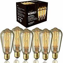 Wootly 6 Stück Edison-Glühbirne (Wolfram),