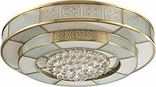 WOQU 114W Durchmesser 55cm LED Messing Decke Lampe Kristall Lampe, Beleuchtung für Wohnzimmer, Schlafzimmer, Esszimmer, Flush Deckenleuchten , diameter 55cm