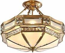 WOQU 54W Durchmesser 48cm LED Messing Decke Lampe Deckenleuchten, Beleuchtung für Wohnzimmer, Schlafzimmer, Esszimmer, Flush Deckenleuchten , diameter 56cm