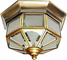 WOQU Messing Decke Lampe für Wohnzimmer Schlafzimmer Küche Durchmesser 35CM 25W Nordic Style Korridor Leuchten