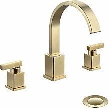 WorbWay Badezimmer-Wasserhahn, gebürstetes Gold,