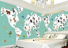 WORINA Cartoon Landkarte Tiere Fototapete