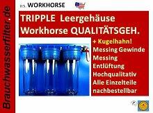 Workhorse WASSERFILTER 3-Fach Wasserfilteranlage Filteranlage LEERGEHÄUSE Tripple Filteranlage Osmose Zisterne Regenwasser Brunnen Pumpe