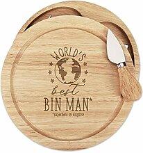 World's Best Mülleimer Mann Holz Käsebrett