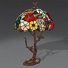 World Art Blumen Tischlampe Glas Im Tiffany-Stil Handwerk, E27, Colorful, 44 x 26 x 60 cm