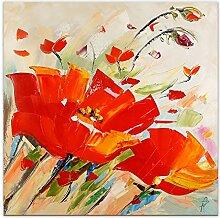 World Art Rote Mohnblumen Flowers modern acryl