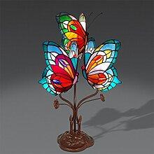 World Art Schmetterling Nachttischlampen Im Tiffany-Stil Handwerk, Glas, E14, 25 W, Bunt, 53 x 35 x 27 cm