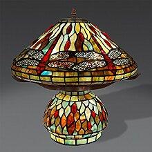 World Art Tischlampe Dragonfly Glas Im Tiffany-Stil Handwerk, E27, Colorful, 42 x 42 x 43 cm