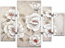 World Art TWAS431X1 Weiße Blumen Flowers modern