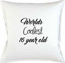 Worlds Coolest 16 Year Old Birthday Gift Komisch Kissenbezug Haus Sofa Bett Dekor Weiß