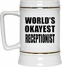 Worlds Okayest Receptionist - Beer Stein Bierkrug