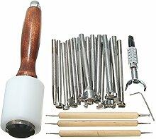 WOVELOT 25 stuecke Leder Carving kits Holzhammer