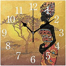 WowPrint Quadratische Wanduhr, afrikanische Frau,