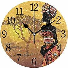 WowPrint Wanduhr, afrikanische Frau, Acryl, rund,