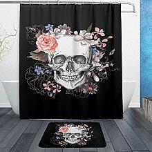 WOZO Duschvorleger mit Totenkopf-Motiv, Polyester,