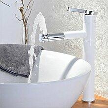 WP- All-Kupfer weißen Sprühfarbe Bassinhahn Hochwasserhahn Bühne Becken Waschbecken Wasserhahn heißen und kalten Wasserhahn