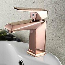 WP- Einzigen Handgriff ein Loch in Rose Gold Waschbecken Wasserhahn