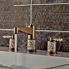 WP- High-End-europäischen Stil Drei-Loch-Hahn Keramik vergoldet Wasserhahn
