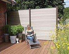WPC / BPC Sichtschutzzaun bi color-weiß 3 Zäune inkl. 4 Pfosten in dark grey Sichtschutz Gartenzaun Zaun