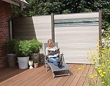 WPC / BPC Sichtschutzzaun bi color-weiß 7 Zäune inkl. 8 Pfosten in dark grey und Verglasung Sichtschutz Gartenzaun Zaun terrasso