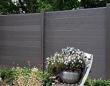 WPC / BPC Sichtschutzzaun dark grey 2 Zäune inkl. 3 Pfosten Sichtschutz Gartenzaun Zaun